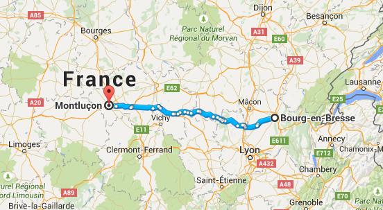 Trajet Bourg-en-Bresse Montluçon