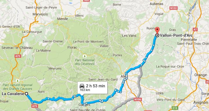 Trajet La cavalerie Vallon Pont d'Arc