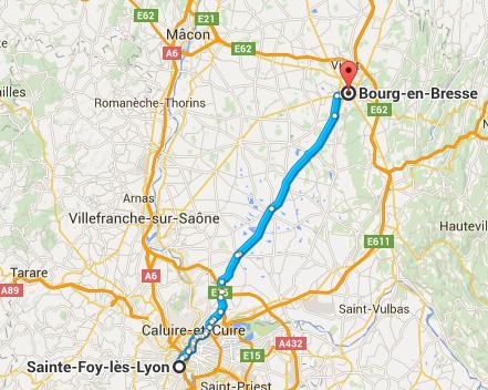 Trajet Sainte-Foy-Lès-Lyon Borg-en-Bresse