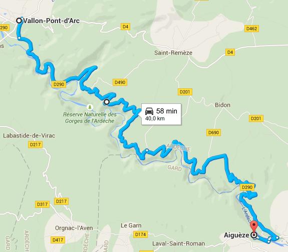 Trajet vallon pont d'arc, Aigueze par les Gorges de l'Ardeche