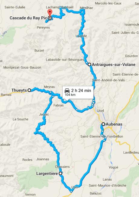 Trajet Aubenas, Largentiere, Thueyts, Antraignes, cascade du Ray-Pic