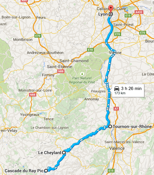 Trajet cascade du ray-pic vers Lyon