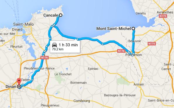 Itinéraire Mont Saint Michel via Cancale, Dinan