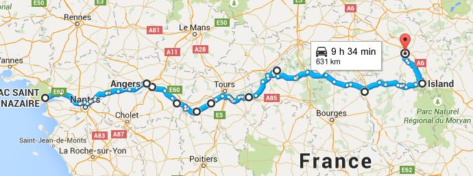 Itinéraire de nos vacances en camping-car depuis St-Nazaire jusqu'à Island