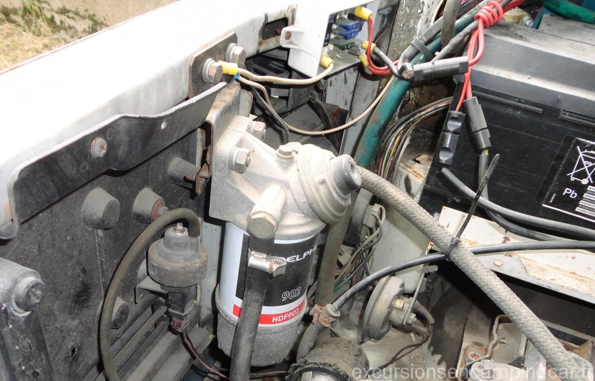 Futur emplacement de l'intercooler. La plaque devra être enlevée, le filtre à gaz-oil, la capsule à dépression du turbo et le coupleur devront être déplacés