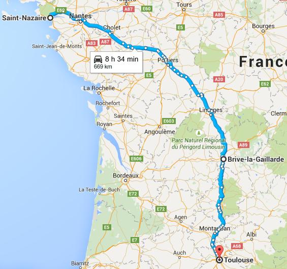 Trajet Saint Nazaire Toulouse
