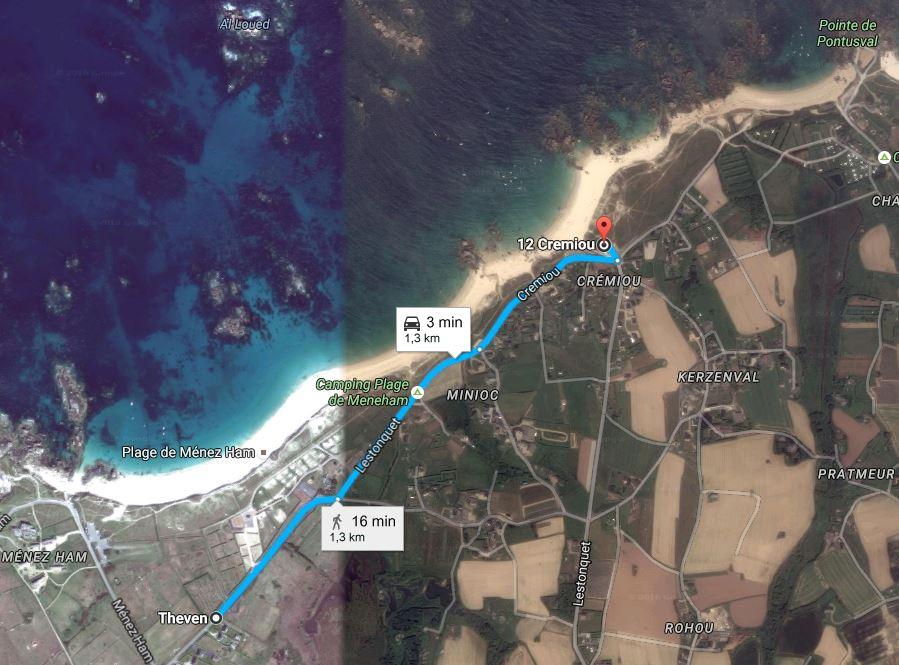 trajet aire de camping-car Lestonquet - Parking de Cremiou