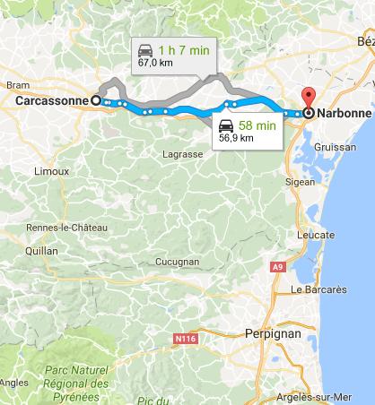Trajet Carcassonne Narbonne