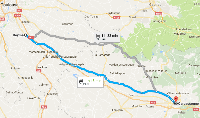 Trajet Deyme Carcassonne