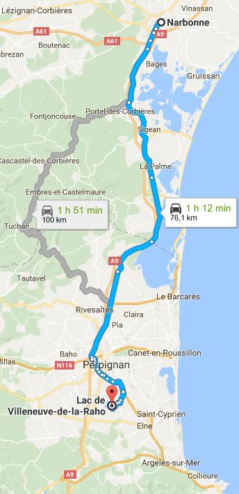 Trajet Narbonne Viilleneuve-de-la-Raho