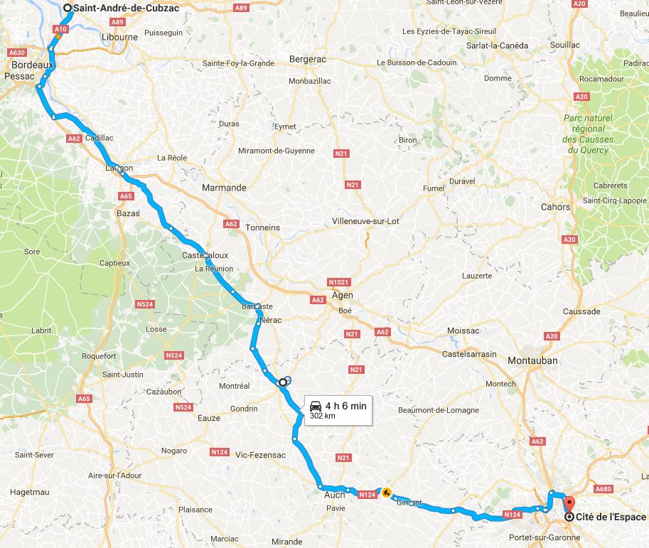 Trajet Saint André-de-Cubzac Toulouse