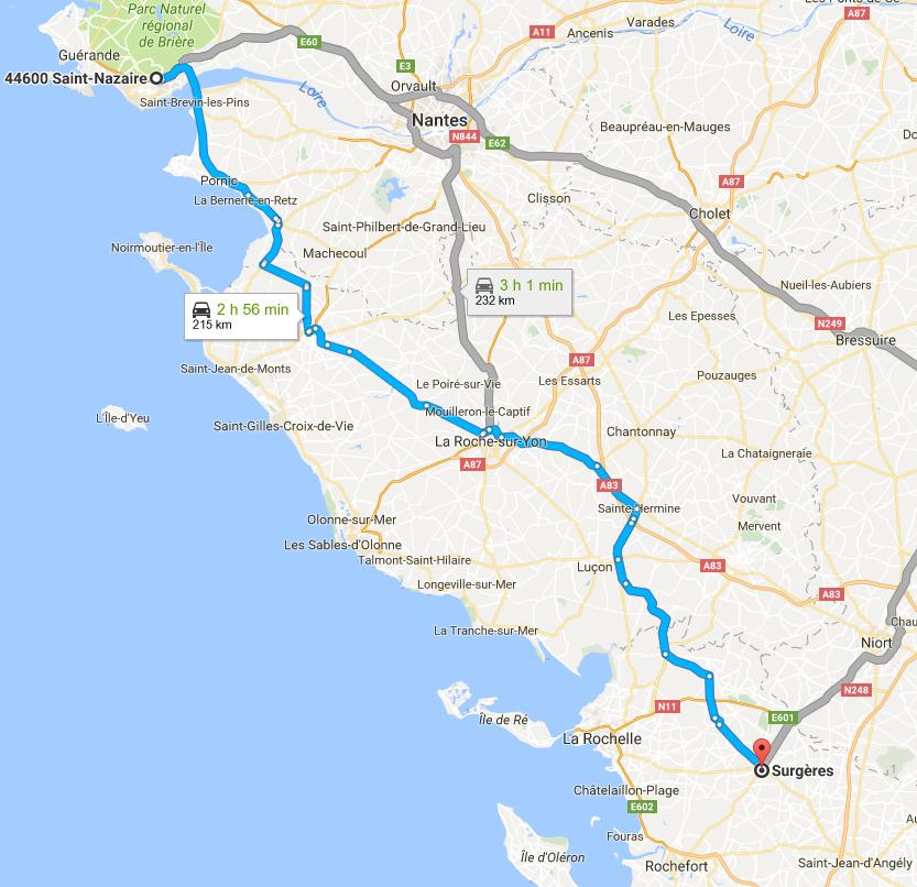 Trajet Saint-Nazaire Surgères