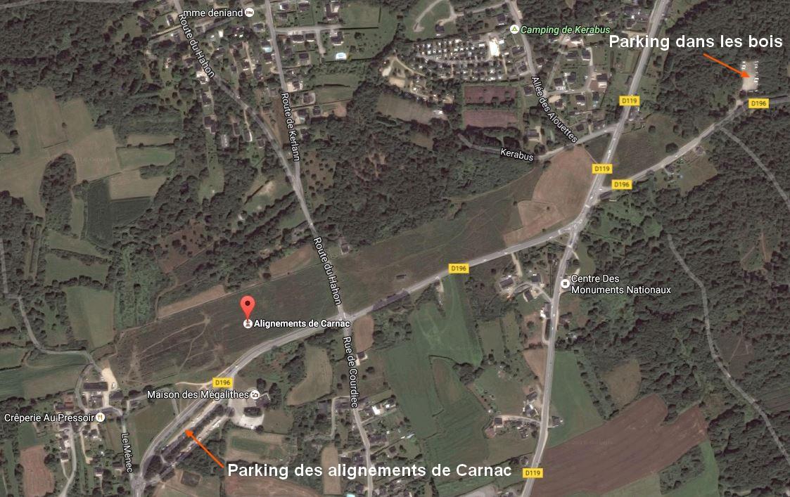 Vue aérienne des alignements de Carnac avec positions des parkings