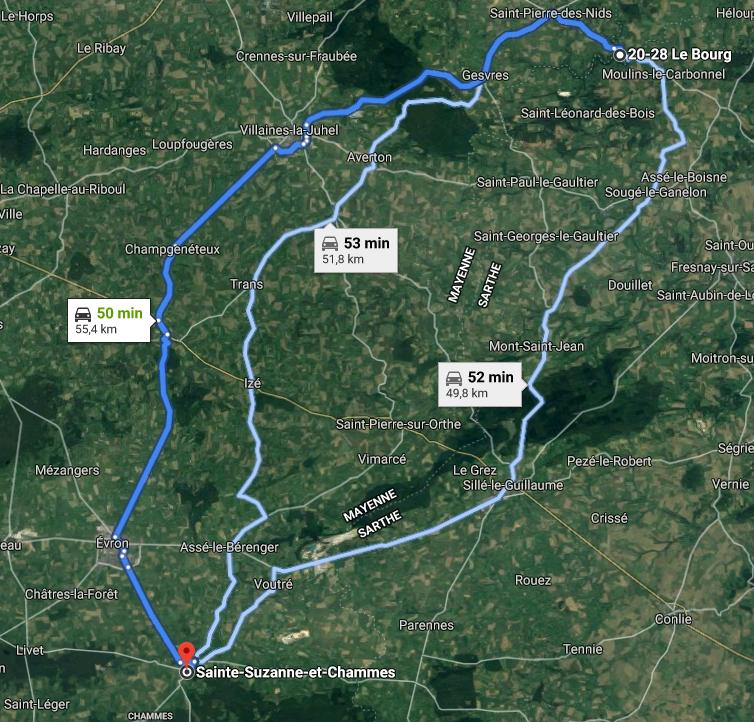 Aperçu du trajet entre Saint-Cénéri-le-Gérai et Sainte-Suzanne-et-Chammes