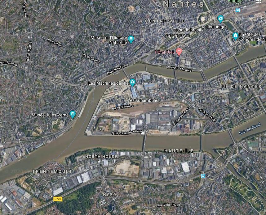 Situation de Trentemoult par rapport à Nantes