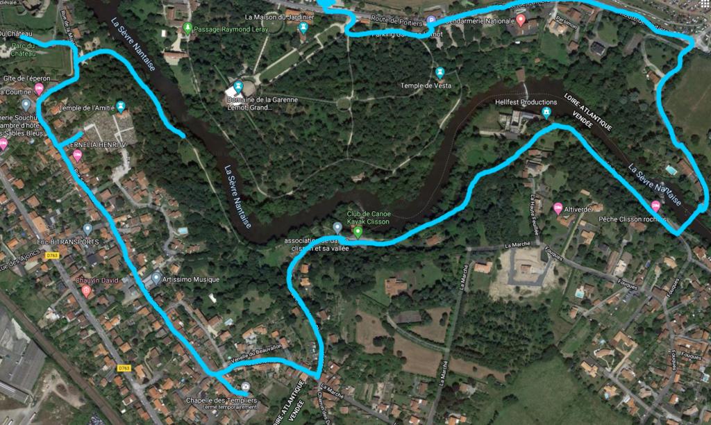 Trajet de la balade du château de Clisson au parking route de Poitiers en passant par les bords de la Sèvre Nantaise