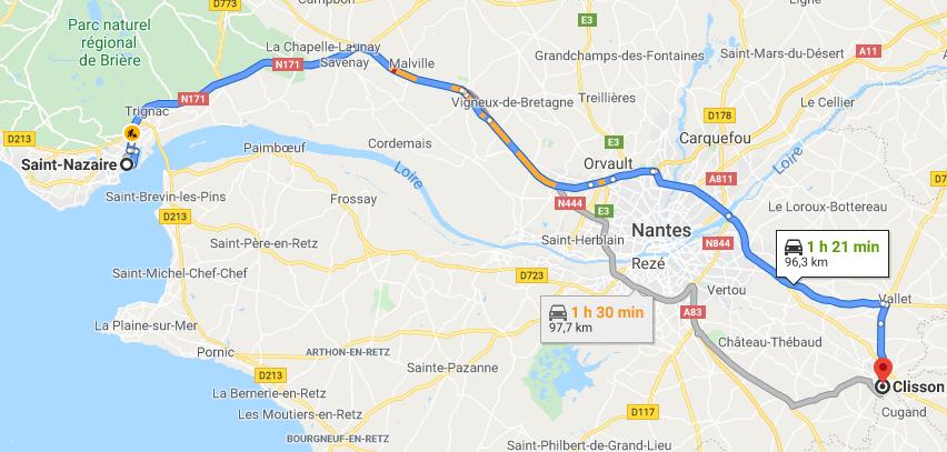 Trajet de Saint Nazaire à Clisson